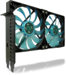 Gelid PCI Slot Fan Holder with two slim 120mm UV Blue Fans