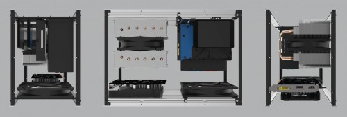 Example 1 - A typical build using a compact to mid-size GPU, SFX-L PSU, 140mm tall CPU Cooler, 1x 3.5 + 2x 2.5 drives and 140mm intake fan for additional case cooling.