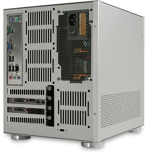 Rear view of the MicroQube Breeze (previous motherboard shown)